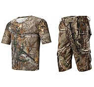 Men Outdoor Spoorts Tshirt Camouflage Hunting Wader Fishing Suits Summer Camo Hunting Clothing Suit Tshirt Short & Pants