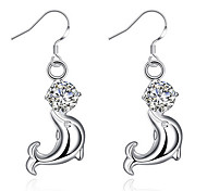 Fashion jewelry silver dolphin drop earrings with zircon cute birthday gift top quality earring
