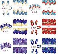 12 Nail Art Sticker  Water Transfer Decals / 3D Nail Stickers Makeup Cosmetic Nail Art Design