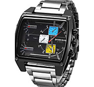 Hombre Reloj Deportivo / Reloj Militar / Reloj de Vestir / Reloj de Moda / Reloj de Pulsera CuarzoCalendario / Tres Husos Horarios / Punk