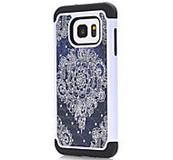 For Samsung Galaxy S7 S7 Edge Black Flowers Pattern Drill TPU PC Combo Material Mobile Phone Shell Cover