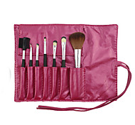 7 Makeup Brushes Set Synthetic Hair Professional / Portable Wood Face / Eye / Lip Rose Red