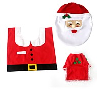 1set casa Stia no tejido higiénico de santa decoración de Navidad establecer inodoro cubierta de asiento cubierta de la caja del tejido de
