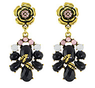 Colorful Rhinestone Flower Big Earrings