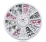 Mix Sizes Clear Pink Grey Glitter 3d Nail Art Rhinestone Decoration Wheel