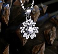 Women's Jewelry S925 Silver Zircon Charm Snowflake-shaped Pendant for Women