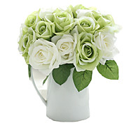 9 Heads Artificial Roses Bouquet Flowers for Tabletop Home Decor 9.5 inch