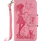 For Samsung Galaxy S7 Edge S7 S6 Edge S6 S5 S4 S3 PU Leather Material Woman and Cat Pattern Embossed 9 Cassette With Mirror Phone Case