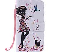 для Samsung Galaxy j3 j3 (2016 г.) женщина и кошка окрашены держатель карты бумажник PU кожаный случай телефона