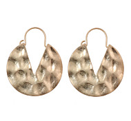 Vintage Personality Hammered Round V Hoop Earrings-Antique