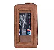 For Samsung Galaxy S7 edge S7 Double Zipper Leather Coin Purse wristlet Phone Wallet Credit Cards Key Cases