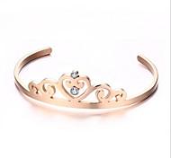 Damen Manschetten-Armbänder Modisch Einstellbar individualisiert Elegant Luxus-Schmuck Schmuck Stahl Imitation Diamant Kronenform Schmuck