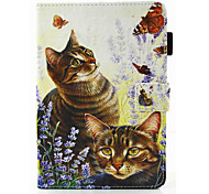 For iPad mini 1 2 3 4  Case Cover Cat Pattern PU Leather Material Flat Protection Case