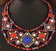 Women Fashion Bohemian Ethnic Style Simple Collar Short Necklace 1pc Gift Orange / Green