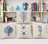 Set of 4 Ocean Marine Heavy Wind Series Pillow Nordic Animal Series Pillow Pillow Linen Composite Material