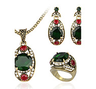 Gioielli 1 collana / 1 paio di orecchini / 1 anello Zirconi Casual 1 Set Da donna Oro Regali di nozze
