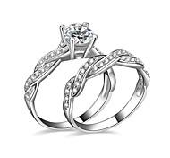 Жен. Кольца для пар Обручальное кольцо Цирконий Любовь бижутерия Серебрянное покрытие Бижутерия Бижутерия Назначение Свадьба Для