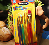 6pcs Plastic Brush Decorating Pen Sugar Craft Tool Fondant Decorating Fondant Color Pen Cream Stroke Pen Cake Decor