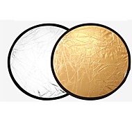 60cm 2 in1 Gold and Silver Handhold Multi Collapsible Portable Disc Light Reflector for Photography 2 in1 Gold and Silver