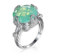 African Green Fire Opal Emerald Silver Plated Wholesale Fashion Jewelry Ring For Women Geometry Vintage Wedding Jewelry