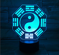Creative Gossip Taiji 3D Visual Light 7 colour Remote Touch USB Night Light Atmosphere LED Lamp