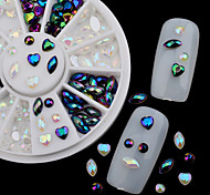 White AB Black Glitter Nail Rhinestone Pearls Wheel Round Heart Designs Acrylic Flat Back Charm Nail Art Decorations