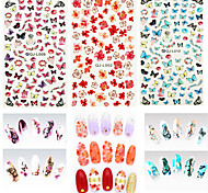 12 pcs/lot Water Transfer Nails Art Sticker Flower Leaf Colorful Butterfly Nail Wraps Watermark Nail Decals