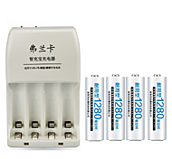 FULANKA 4 Slots Smart Intelligent Battery Charger for AA / AAA NiCd NiMh Rechargeable Battery+4 AAA Batteries