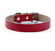 Dog Collar Adjustable/Retractable Solid Genuine Leather Black Red