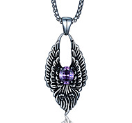 Punk Style Pendant Charm Necklace 316L Stainless Steel Retro Carving Dragon Shape Zircon Jewelry