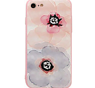 For iPhone 7 7plus 6S 6plus Case Cover Pink Flowers Pattern Diamond Relief TPU  Acrylic Material Phone Case