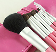 7 Makeup Brushes Set Synthetic/Horse Hair Professional / Portable Wood Handle Face/Eye/Lip Rose Red