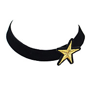 New Model Black Velvet Wide Choker Necklace with Star