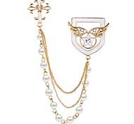 las mujeres coreanas de la perla de la aleación de las alas del ángel cruz, estrella insignia broche broche