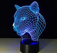 новый творческий 3d иллюзия лампа леопард голова 3D LED сенсорный переключатель красочная настольная лампа атмосфера акриловую