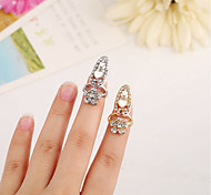 1Pcs  New Creative Ring The European And American Fashion Fan Set Auger Flowers Love Nail Ring