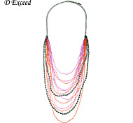 New Arrival Trendy Colorful  Multilayer Glass Seed Beads Long Chain Necklace for Women Christmas Gift NL140366