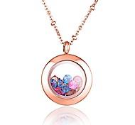 моде цвет горный хрусталь заполнены 316l нержавеющей стали розового золота гальваническим ожерелье кулон