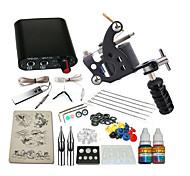 1 x macchina in acciaio per linee e ombre Mini-alimentatore 5 x ago RL 3 1PCS 1 x presa in alluminio 1 × 5ml kit tatuaggio avviamento