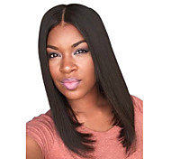 Capless Short Straight Medium Side Bang Synthetic Wigs for Women Black Dark Brown Heat Resistant with Free Hair Net