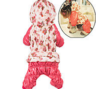 Dog Hoodie Clothes/Jumpsuit Dog Clothes Winter Floral / Botanical Cute Casual/Daily Keep Warm Rose Pink