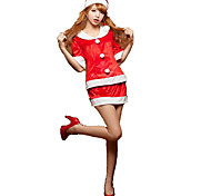 Cosplay Costumes Festival/Holiday Halloween Costumes Red / Green Solid Top / Skirt / More Accessories Christmas Female Polyester
