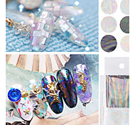 6pcs New Transparent Nail Art Foils Starry Sky Glitter Nail Transfer Sticker Paper