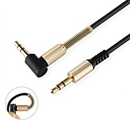 Aux Cable Metal 3.5mm Jack Male to Male Gold Plated Connector 90 Degree Right Angle Audio Cable for Car Speaker iPhone Headphone (1.0m 3Ft)