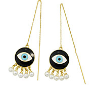 New Design Imitation Pearl Eye Shape Long Earrings