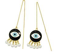 New Design Imitation Pearl Eye Shape Long Earrings