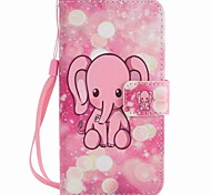 For Motorola G4 Play G4 Case Cover Pink Elephant Painted Lanyard PU Phone Case