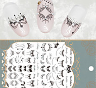 Lace Necklace 3D Nail Art Stickers Black Lace Full Nail Stickers Nail Decals