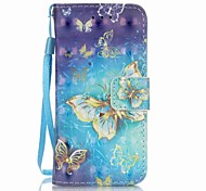 Gold Butterfly 3D Painting PU Phone Case for apple iTouch 5 6