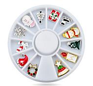 1pcs  Alloy Christmas Design Nail Art Decoration Wheel Glitter Rhinestone Manicure Nail Supplies Tools